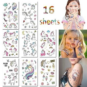 Amazon.com: chuliang Unicorn Temporary Tattoos for Kids Birthday ...