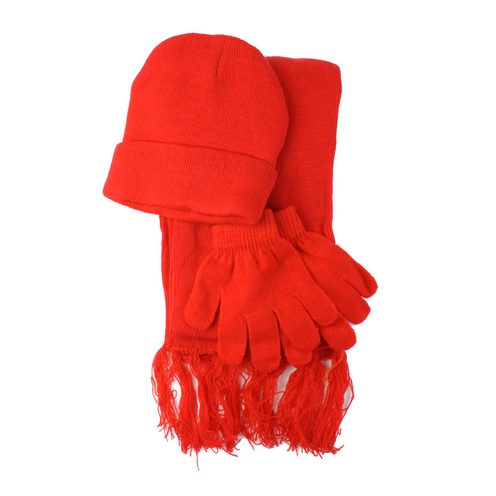Winter Girls Kids Age 4-9 Knit Scarf Beanie Hat Cap Glove Ski Snow Set Red