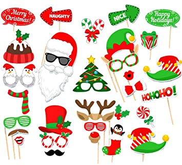 Amazon.com: 31 Pcs Merry Christmas Photo Booth Props for DIY ...