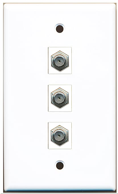 RiteAV - 3 Port Coax Cable TV- F-Type Wall Plate