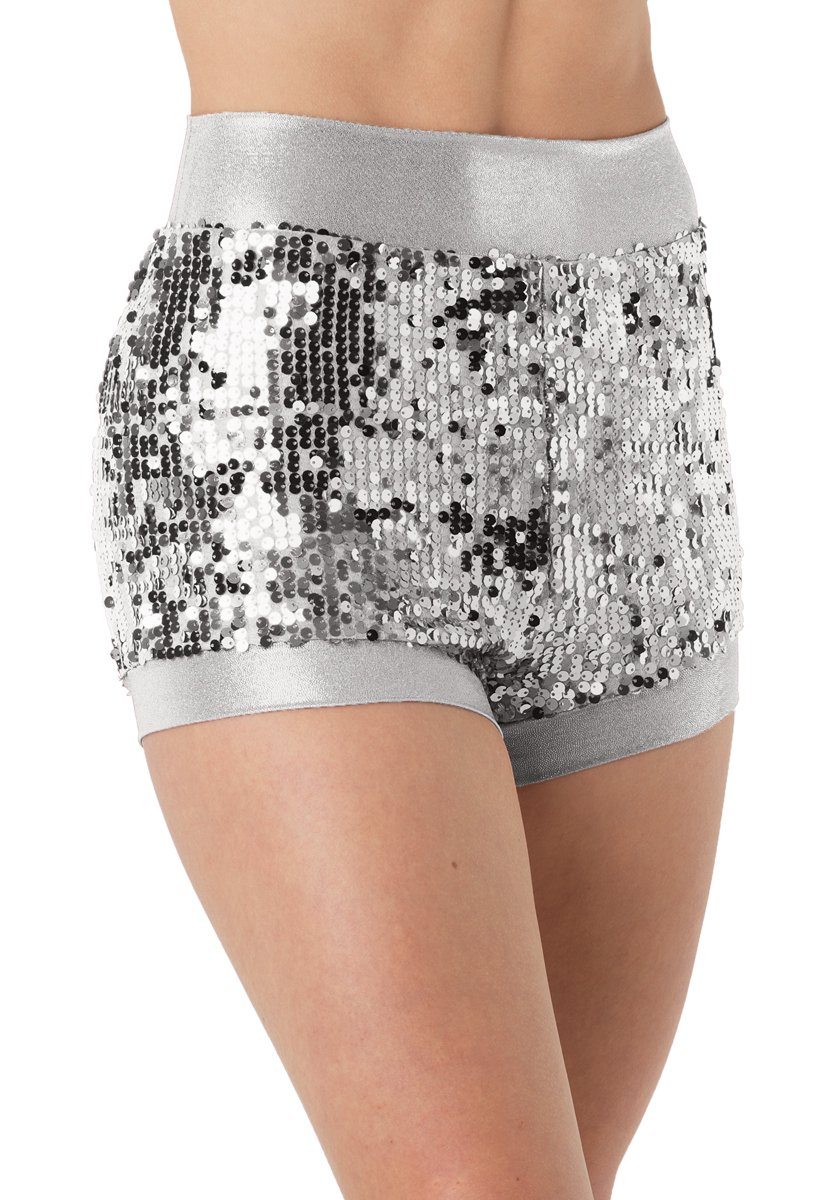 Balera Dance Shorts Ultra Sparkle With Metallic Trim Silver Child Large by Balera
