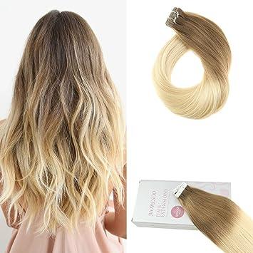neueste auswahl Rabatt vollständig in den Spezifikationen Moresoo Remy Echthaar Extensions Tape in Hair Extensions Echthaar Ombre  Braun #6 zu #613 Blond Brasilianisches Haarverlängerung Two Tone Extensions  ...