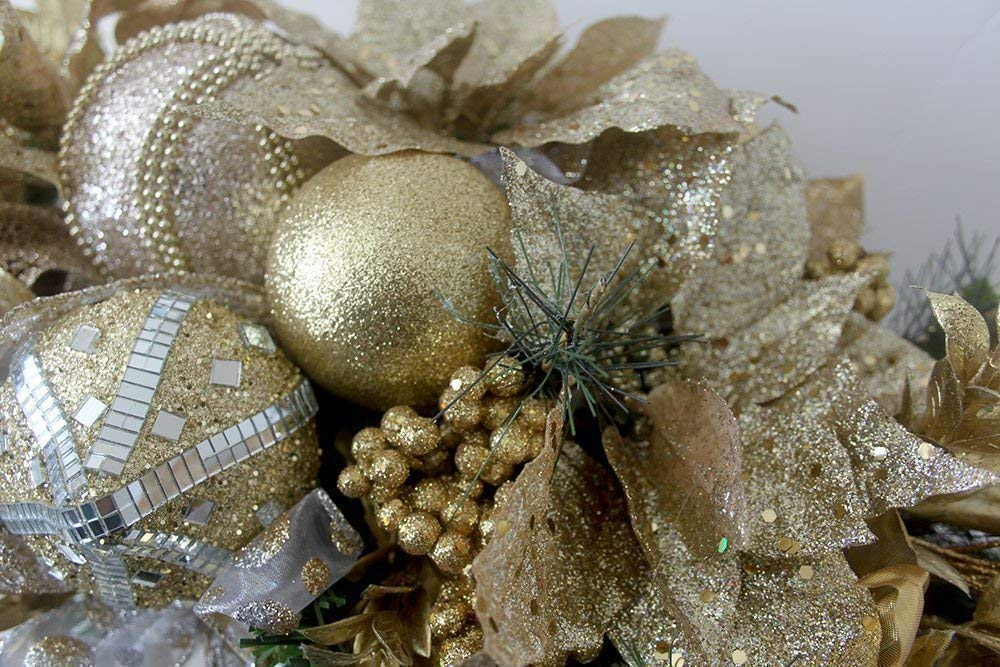floral arrangement Christmas table centerpiece gold gold holiday arrangement large Christmas Arrangement with ornaments Unique Holiday Table D/écor