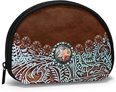 coin bag with zipper coin pouch leather bag Tooled leather coin purse