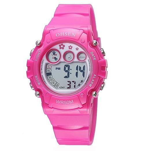 Infantiles Niños Niñas Relojes Deportivos Impermeable Digital Led Multifunción Al Aire Libre Reloj De Pulsera Rojo: Amazon.es: Relojes
