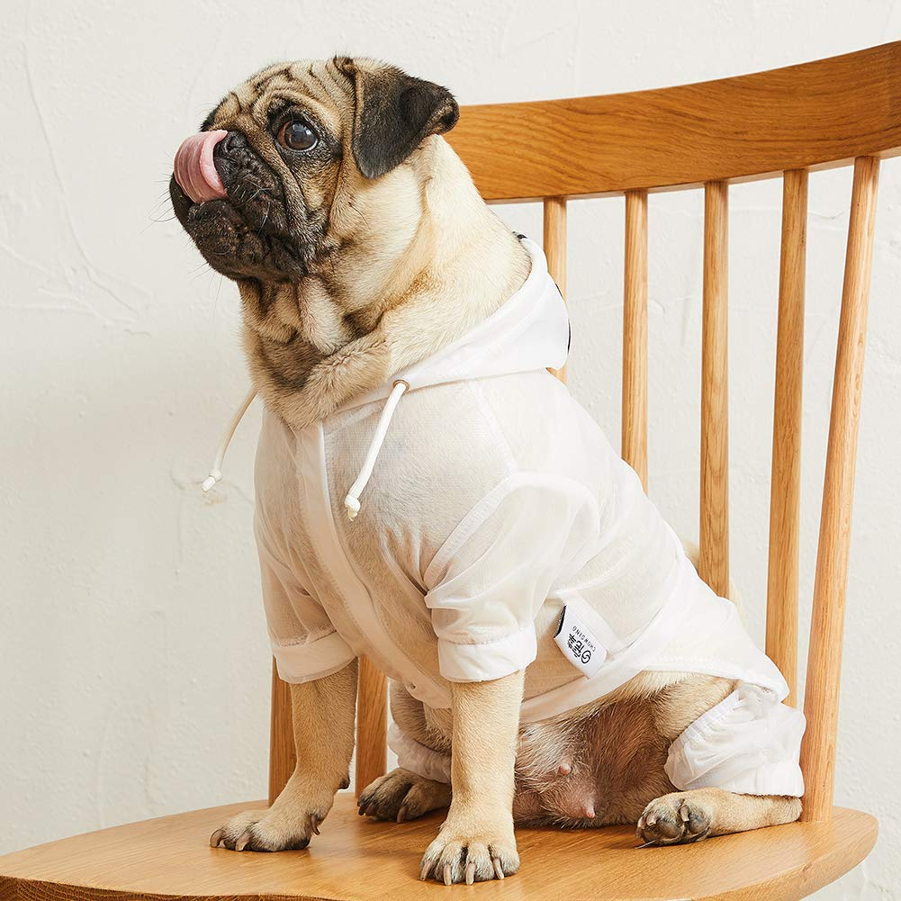 Nourse CHOWSING Dog Raincoat Adjustable Lightweight Waterproof Sunscreen Dog Jacket Dog Rain Poncho Dog Rain Gear with Reflective Strip for 7-33LBS Dogs