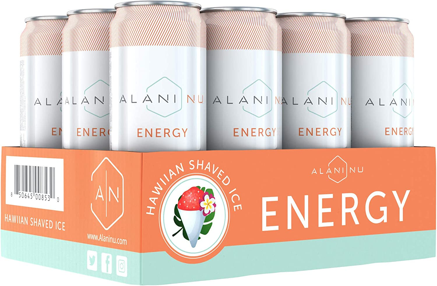 Alani Nu Sugar-Free Energy Drink, Pre-Workout Performance, Hawaiian Shaved Ice, 12 oz Cans (Pack of 12)