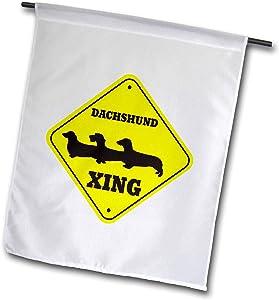 3dRose fl_149843_1 Dachshund Crossing. Dog Lovers Garden Flag, 12 by 18-Inch