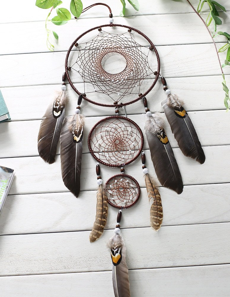 Large Brown Dream Catcher 8x31 Inch Beaded Nature Feathers With 3 Handmade Weave Webs Boho Hippie Native American Wall Hanging For Bedroom Baby Shower Party Home Dorm Aesthetic Living Room Decor by DrCor (Image #6)