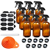 9 Pack Glass Spray Bottle 16oz, Empty Amber Spray Bottle Refillable Container for Essential Oils,Cleaning Products…