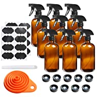 9 Pack Glass Spray Bottle 16oz, Empty Amber Spray Bottle Refillable Container for Essential Oils,Cleaning Products,Aromatherapy spray device