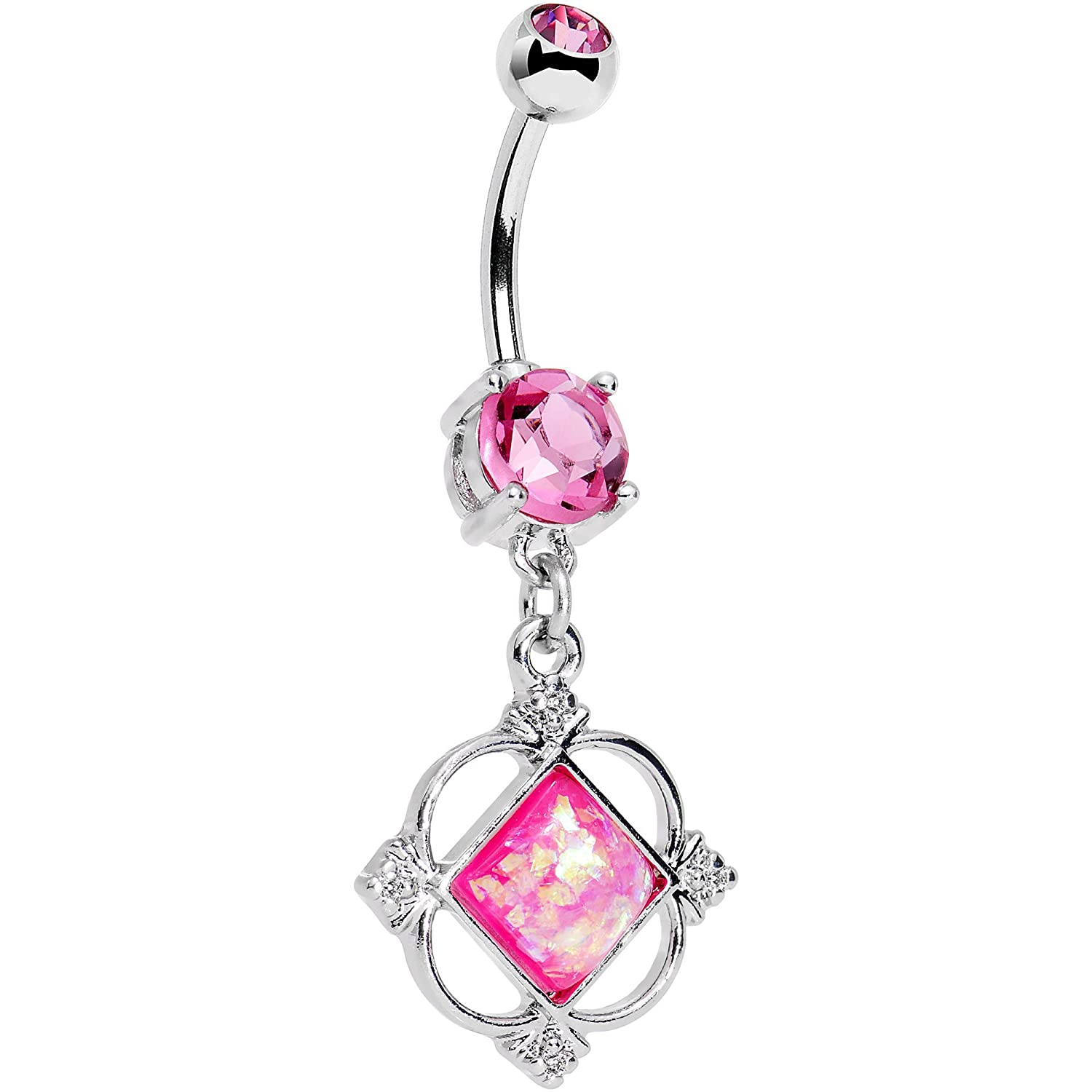 Body Candy Stainless Steel Iridescent Pink Clear Accent Fancy Pants Frame Dangle Belly Ring