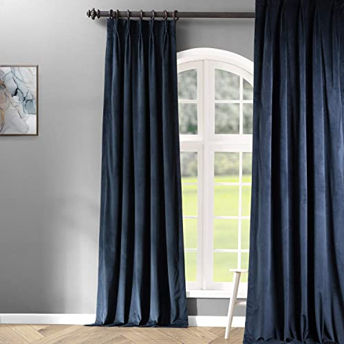 HPD Half Price Drapes VPCH-194023-96-FP Signature Pleated Blackout Velvet Curtain 1 Panel