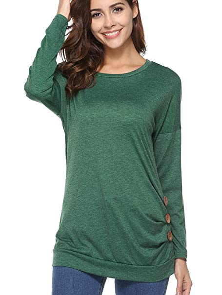 1669528da33ae Image Unavailable. Image not available for. Color  Women s Button-Down  Pleated T-Shirt Round Neck Tops Casual Tunics Long Sleeve Blouse