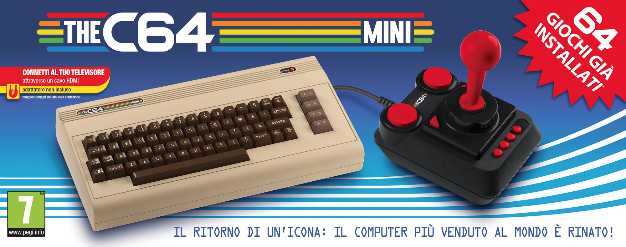 The C64 Mini Console Videogames Deep Silver (EU IMPORT) + 1 Joystick + 64 Games Pre-Installed by Retro Games Ltd (Image #2)