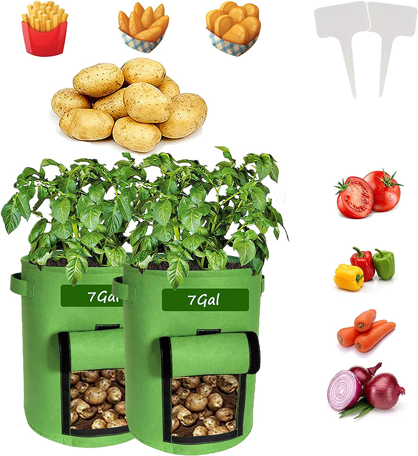 Potato Grow Bags, 2 Pack Heavy-Duty Plant Grow Bag with Dual Handles and Velcro Window Ideal, Garden Vegetable Planter for Tomato, Carrot, Onion, Fruits, and Vegetables