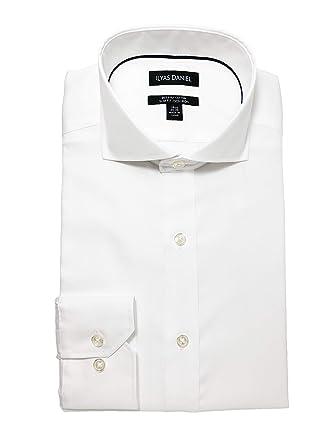 fc0dade7 ILYAS DANIEL Men's Slim Fit Pinpoint Cutaway Collar Non Iron Dress Shirt-  100% Cotton