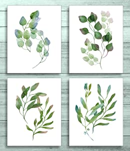 Plant Green Leaf Canvas Prints Wall Art Posters, Unframed Wall Art Prints 8x10, Botanical Prints Wall Decor Canvas Quotes for Bedroom
