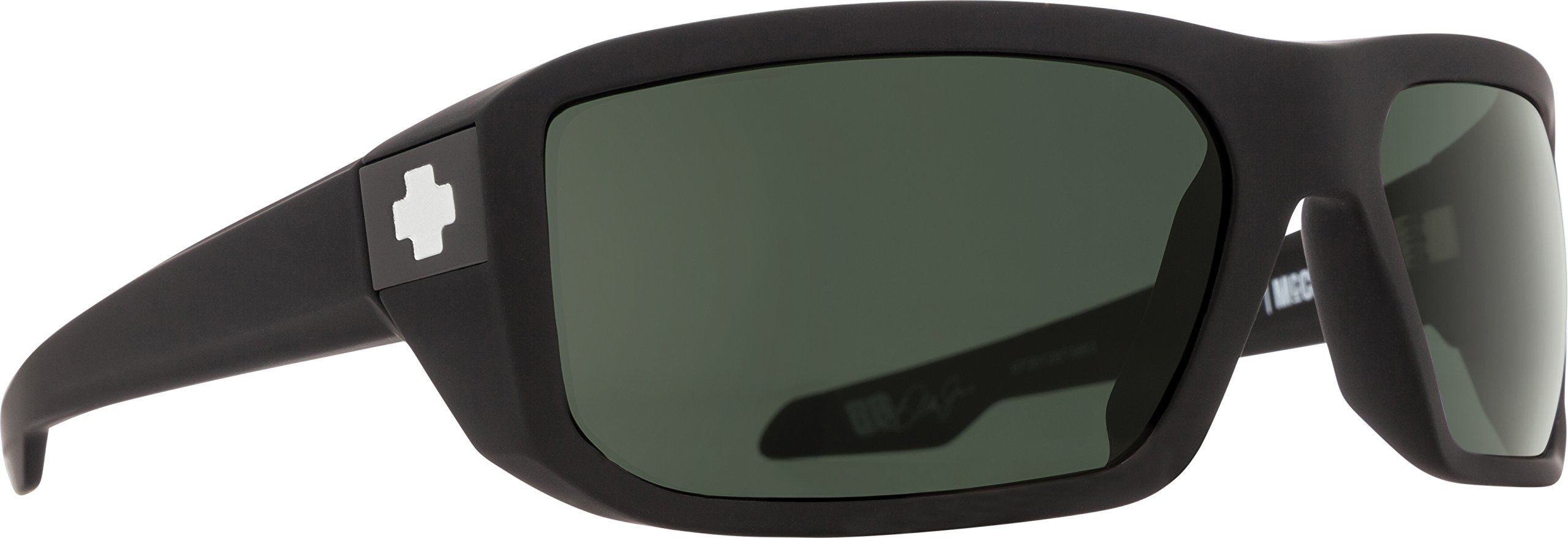 Spy Optic Men's Mccoy Rectangular, Soft Matte Black/Happy Gray/Green Polar, 63 mm