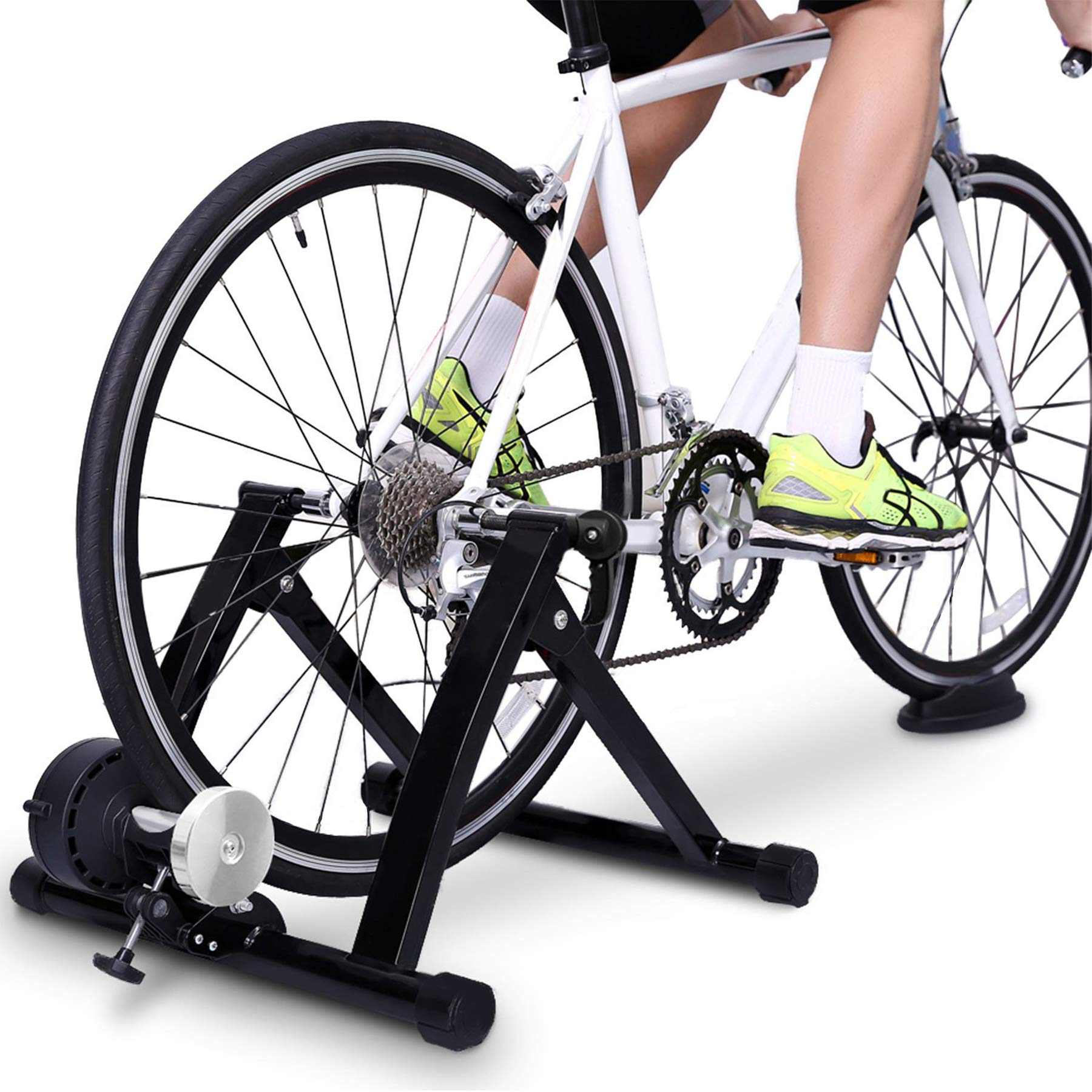 Cibee Sports Bike Trainer Stand, Magnetic/Wire Controlled Bicycle Stationary Stand for Indoor Exercise, Quiet Noise Reduction Quick Release and Front Wheel Block, 24''-28'' (Black - Regular Resistence)