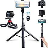 Phone Tripods, 2 Pack of 62'' Extendable Selfie Stick and Octopus Phone Tripod, Fast and Stable Bluetooth Remote Pair, Anwas