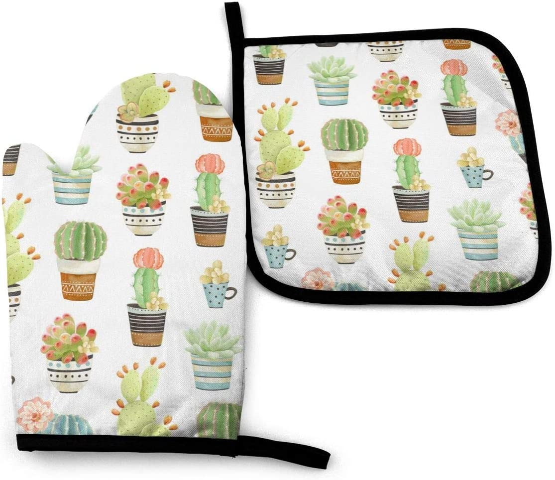 VunKo Cactus Succulents Oven Mitts and Pot Holders Sets Heat Resistant Oven Gloves with Non-Slip Surface for Safe BBQ Cooking Baking Grilling Set of 2