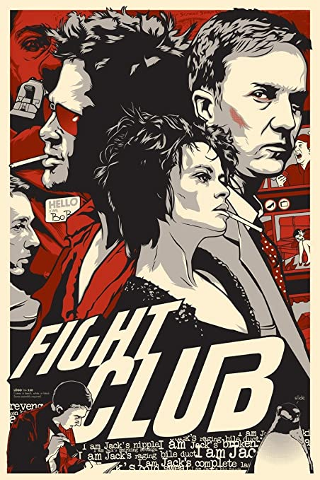 fight club poster  : Blue-Fire Fight Club Poster 36 inch x 24 inch / 20 inch ...