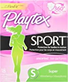 Playtex Sport Tampons with Flex-Fit Technology, Super, Unscented - 18 Count (packaging may vary)