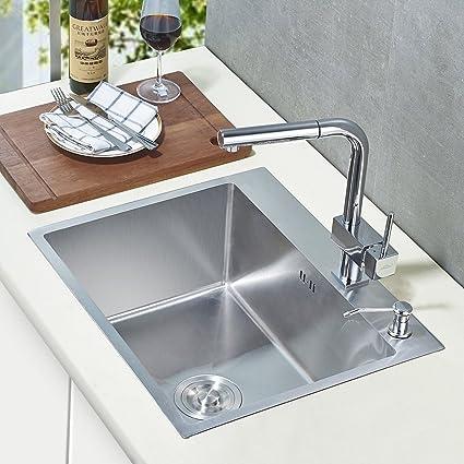 Auralum® Lavello Della Cucina Lavandino Incorporato, Lavello  Monocilindrico, 55 X 45x 22.5cm