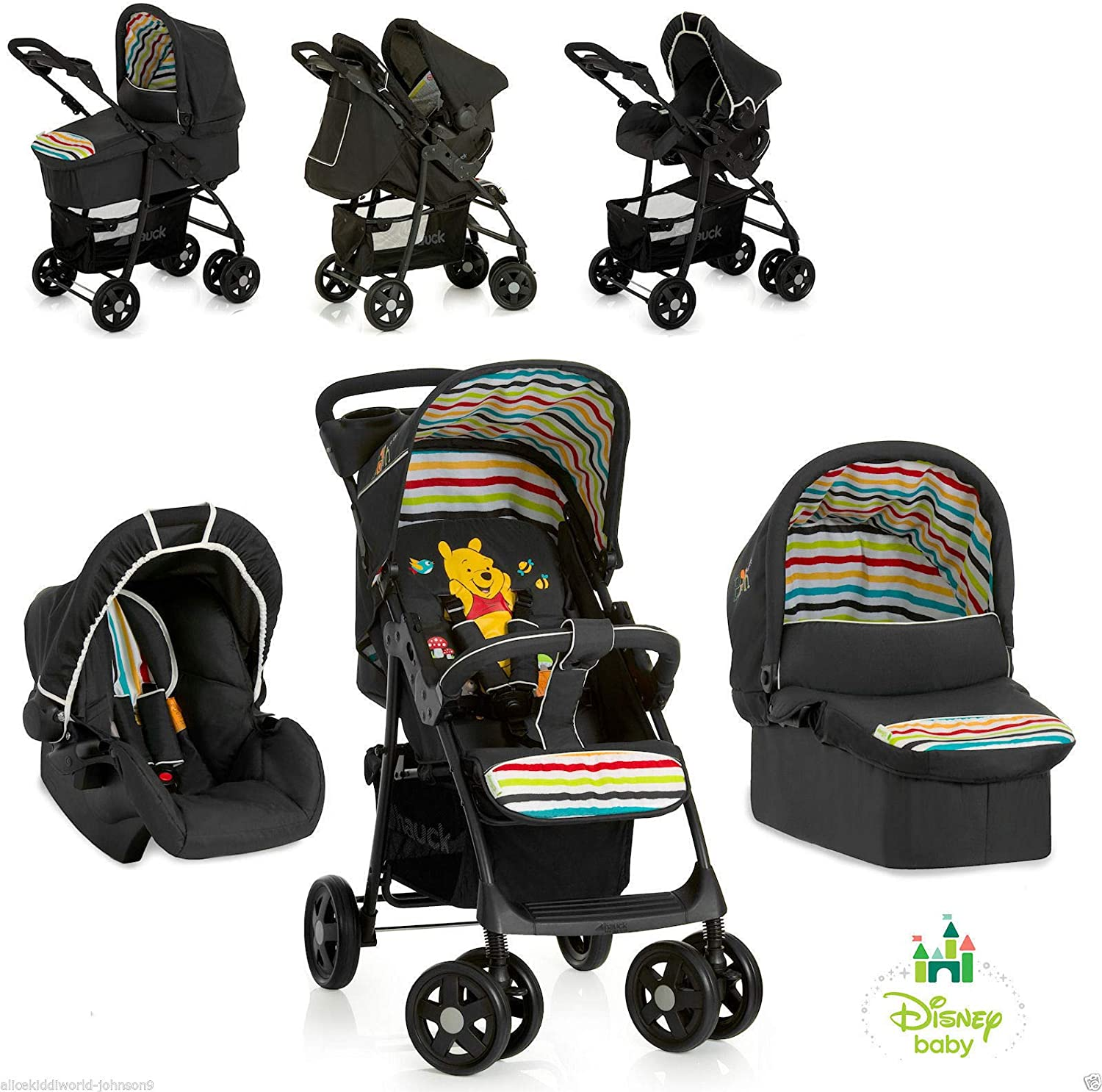 New Hauck Disney Winnie The Pooh Tidytime 3in1 Trio Shopper Pushchair Buggy Pram Carrycot Car Seat Set 1 2 Working Days Delivery To Mainland Uk Amazon Co Uk Baby