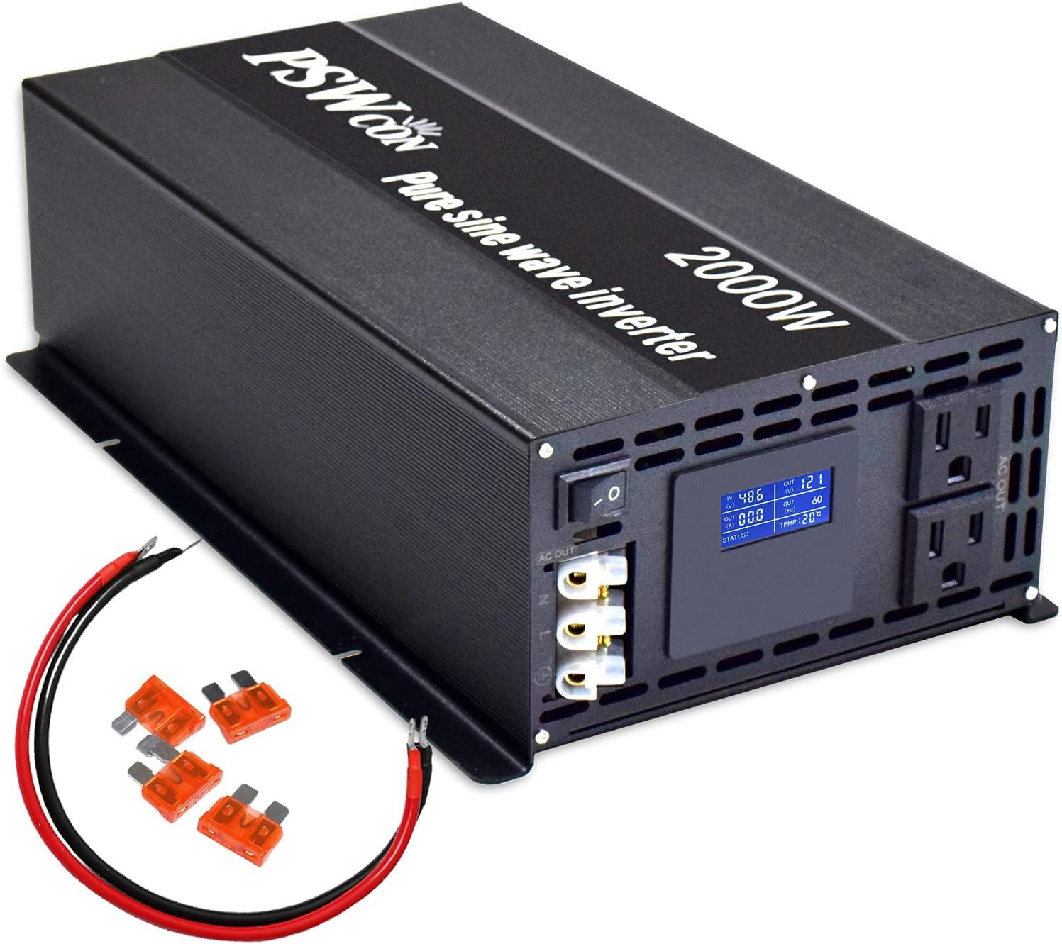 PSWCON Power Inverter Pure Sine Wave Inverter 2000 Watt 48V dc to ac 110V 120V Converter Peak 4000W Off Grid Solar System for Home Use, RV