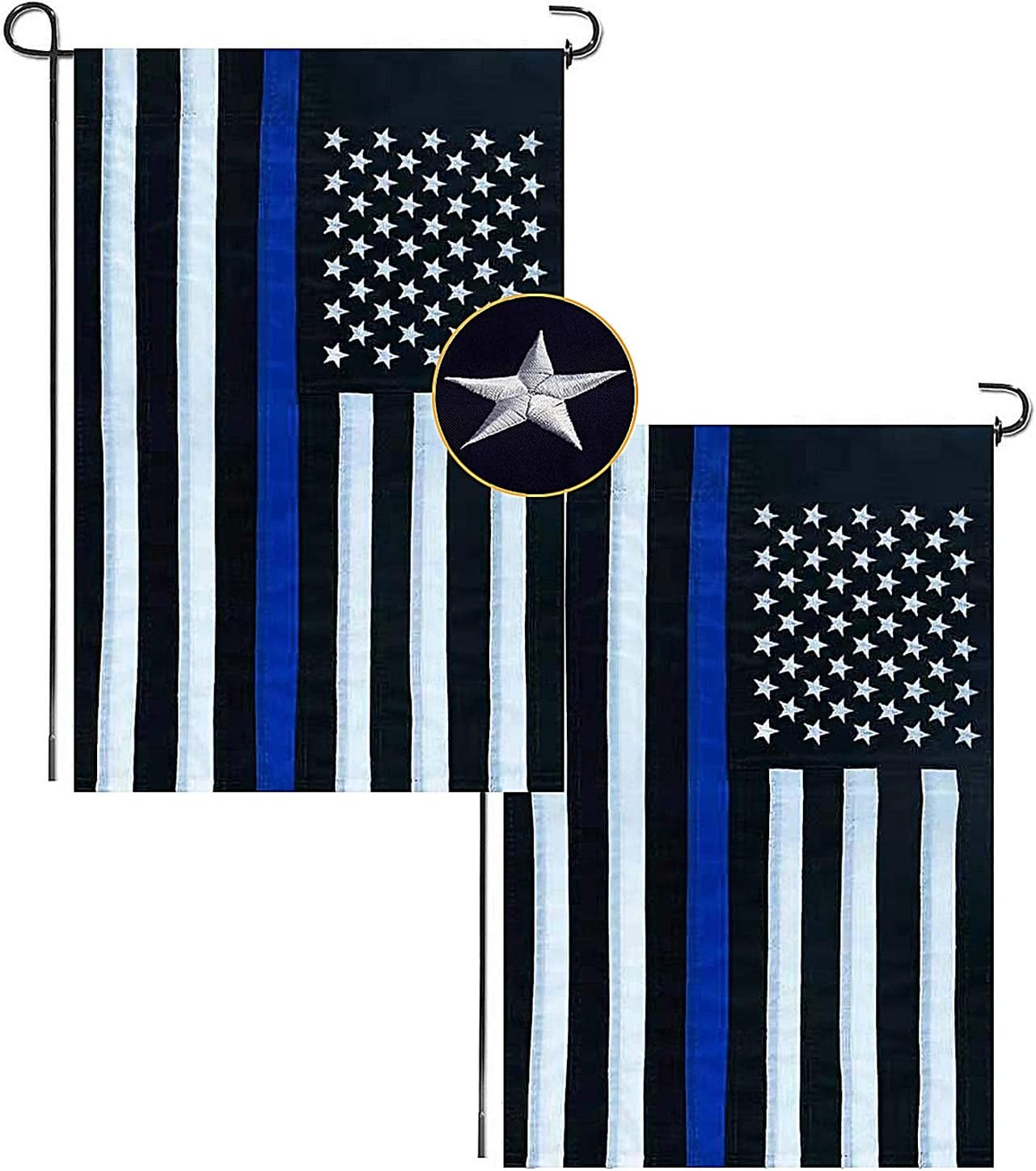 12'' × 18'' Thin Blue Line USA Flag with Embroidered Stars, Sewn Stripes, Black White and Blue American Police Flag Honoring Law Enforcement