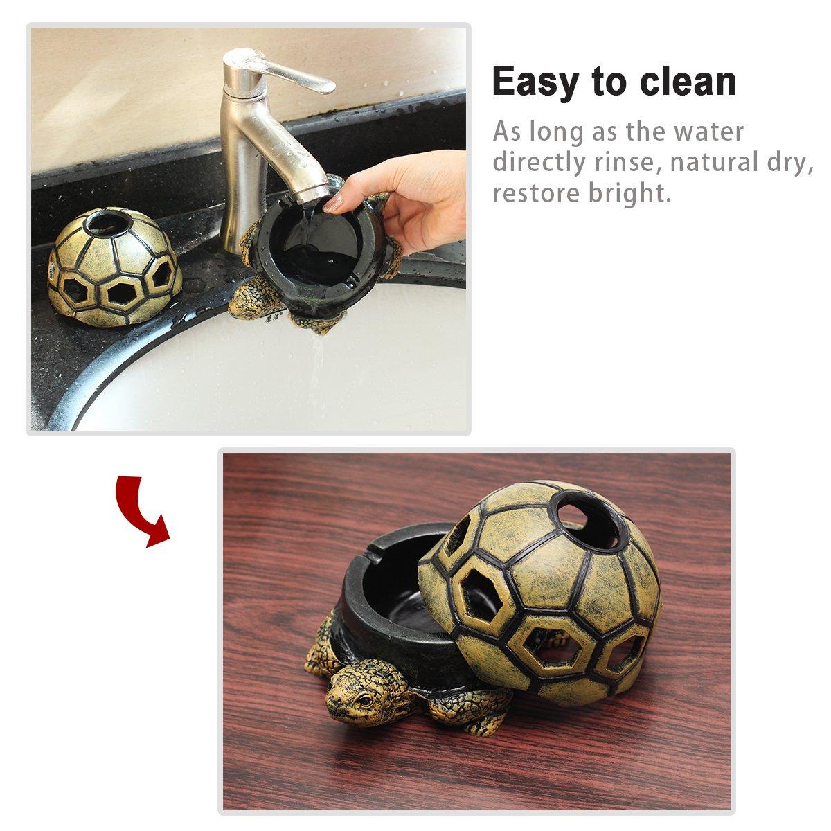 motivo creativo con tartaruga Svpro Posacenere portatile con coperchio ufficio e auto per interni ed esterni per casa in resina