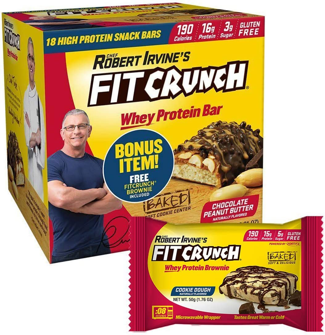FITCRUNCH Snack Size Protein Bars, Designed by Robert Irvine, World s Only 6-Layer Baked Bar, Just 3g of Sugar, Gluten Free, High Protein Soft Cake Core 18 Count Peanut Butter Protein Brownie