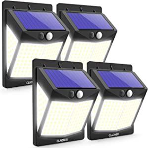 CLAONER?140 LED/4 Packs?Solar Motion Sensor Lights, Wireless Solar Lights Outdoor IP65 Waterproof Security Solar Wall Lights, with 3 Modes for Front Door, Garden, Yard, Garage-2400 Lumens