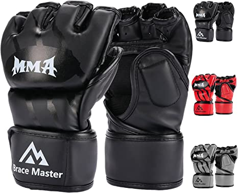 Leather Boxing Gloves Gel Padded Sparring Punch Bag Mitts Gloves Adults UK