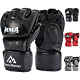 Brace Master MMA Gloves UFC Gloves Leather More Paddding for Men Women Knuckle Wrist Protection, Fingerless Sparring Gloves for Training, Kickboxing, Muay Thai, Boxing, Punching, Mixed Martial Arts