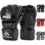 Brace Master MMA Gloves UFC Gloves Boxing Gloves for Men Women Leather More Paddding Fingerless Punching Bag Gloves for…