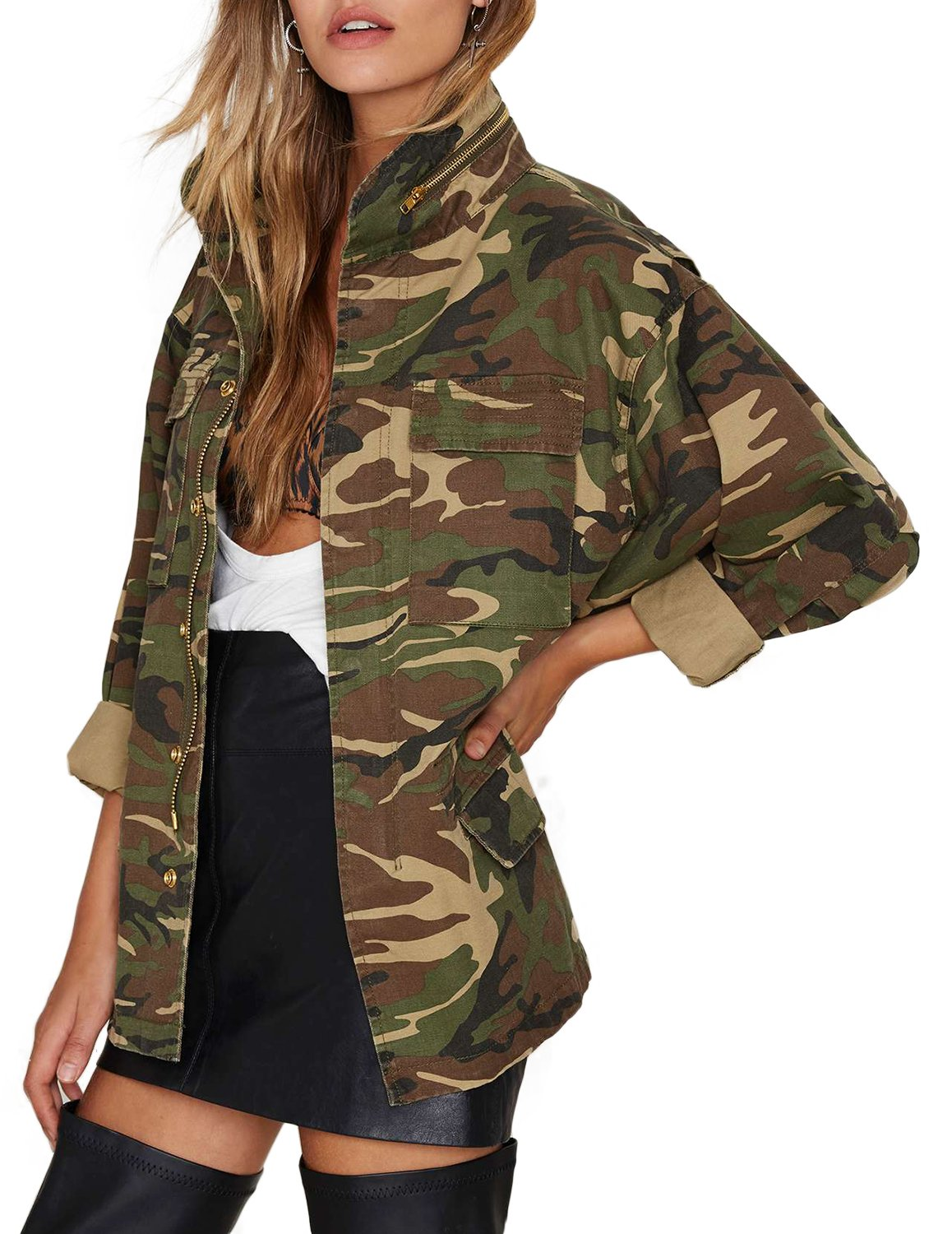 haoduoyi Womens Loose Camouflage Coats Disposition Outwear Jackets (XL) by HaoDuoYi (Image #4)
