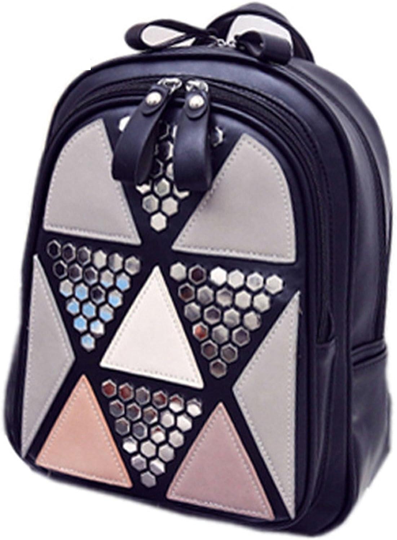 KEBINAI Women Backpack Geometric Patchwork Female School Bags PU Leather Backpacks for Teenagers Girls Mochila PinkL20xW10xH30cm