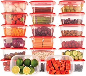 Oursson Food Storage Containers with Lids Airtight, BPA Free, Lunchbox – Reusable and Practical – Transparent Snack Containers with Colored Lids (20 x 34 oz, Red)