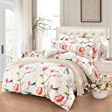 Floral Duvet Cover Set Queen, 100% Soft Cotton Bedding, Birds and Flowers Botanical Pattern Printed, with Zipper Closure (3pcs, Queen Size)