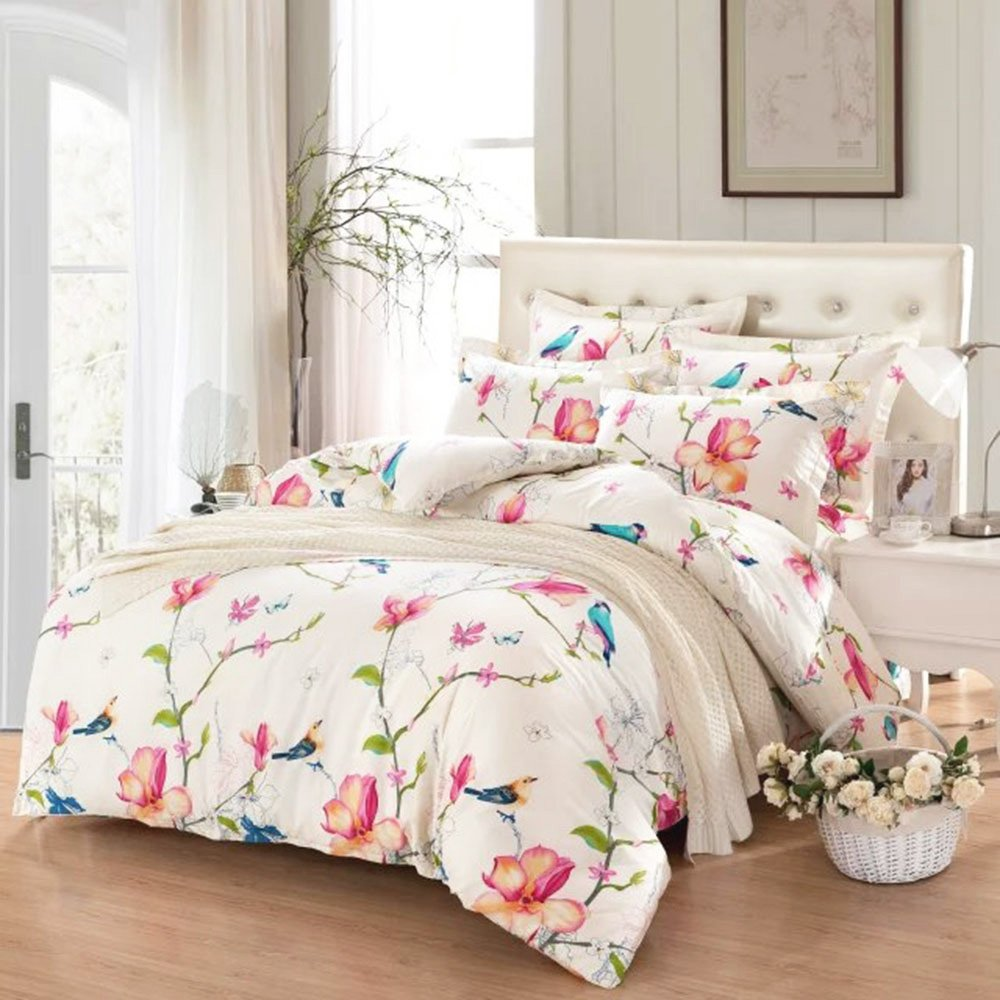 Floral Duvet Cover Set, 100% Cotton Bedding, Botanical Flowers and Birds Pattern Printed