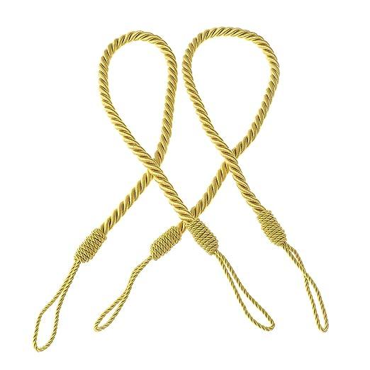 Creative-Idea 2pcs Cortina Tie-Dos Corbata Oro Silky Rope 27 ...