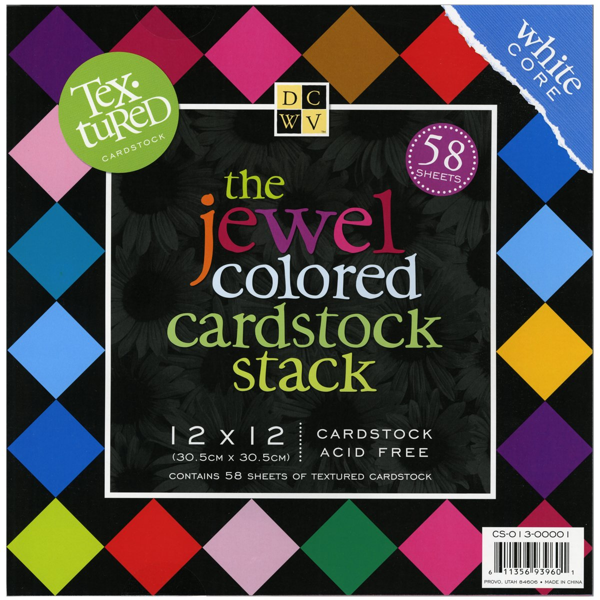 DCWV Cardstock Stack, Textured Jewel Colored, 58 Sheets, 12 x 12 inches DIECUTS WITH A VIEW CS013001