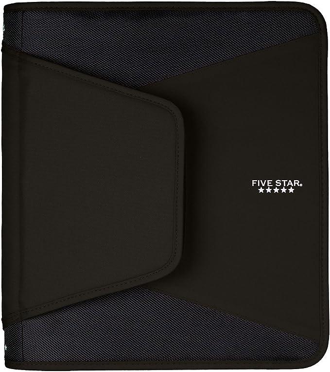 Five Star 1-1/2 Inch Zipper Binder, 3 Ring Binder, 3-Pocket Expanding File, Durable, Black (72204)