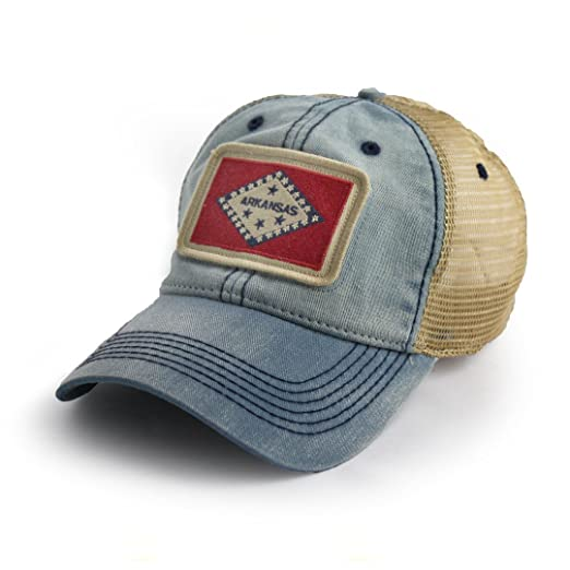 fbbdea27b75 Image Unavailable. Image not available for. Color  State Legacy Revival  Arkansas Flag Patch Trucker Hat ...