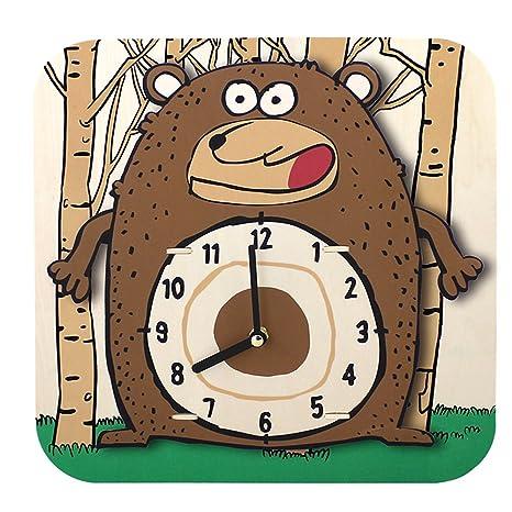 ROBOTIME AC205 sterxy DIY Digital Kids/Dibujos Animados Oso Reloj de Pared de Madera