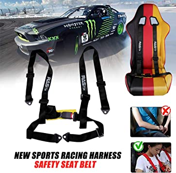 RASTP 4 Point Racing Safety Harness Set with 2 Straps for Racing Seat with SFI Certified,Black Pack of 1