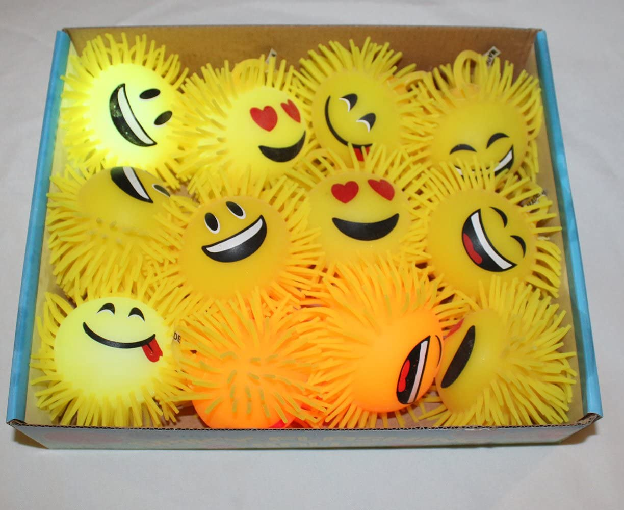 Massage Light Up LED Yellow Flashing Rubber 4 Balls for Kids Party goodie bags giveaways GPC Inc Emoji Spiky 12-Pack Massage Light Up LED Yellow Flashing Rubber 4 Balls for Kids Party goodie bags giveaways